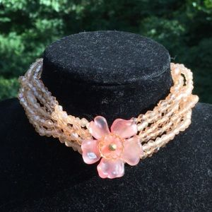 Vintage glass pink flower necklace